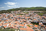 Aerial view of the town of Montanchez from the castle, Extremadura, Spain
