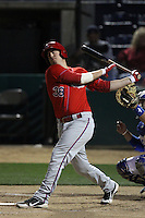 C.J.Cron #38 of the Inland Empire 66'ers bats against the Rancho Cucamonga Quakes at The Epicenter on April 7, 2012 in Rancho Cucamonga,California. Rancho Cucamonga defeated Inland Empire 5-4.(Larry Goren/Four Seam Images)
