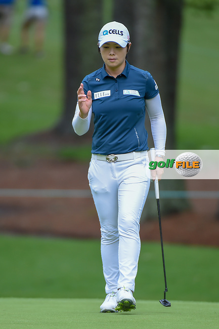 Eun-Hee Ji (KOR) after sinking her putt on 10 during round 1 of the U.S. Women's Open Championship, Shoal Creek Country Club, at Birmingham, Alabama, USA. 5/31/2018.<br /> Picture: Golffile | Ken Murray<br /> <br /> All photo usage must carry mandatory copyright credit (© Golffile | Ken Murray)