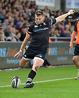 Dan Biggar of the Ospreys fails to score with a kick during the Guinness PRO14 match between Ospreys and Dragons at The Liberty Stadium, Swansea, Wales, UK. Friday 27 October 2017