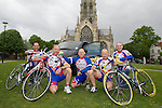 Pix: Shaun Flannery/shaunflanneryphotography.com..COPYRIGHT PICTURE>>SHAUN FLANNERY>01302-570814>>07778315553>>..12th May 2010...........Members of Doncaster Wheelers cycle club prepare for a gruelling 5 day cycle ride in aid of the Firefly cancer support charity and Doncaster Minster charities. Averaging over 100 miles each day the team will cycle through 5 countries, setting off from Doncaster, England, through Wales to Southern Ireland on to Northern Ireland then catching a ferry to Scotland before returning to Doncaster 5 day's later..L-R Ian Furniss, Martin Maltby, Steve Maltby, Paul Staton, Harvey Williams.