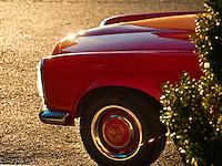 Mercedes Benz Red in Dusk Sunlight