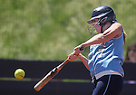 Centennial's Taylor Huntly hits a double against Reed High School during an NIAA 4A semi-final softball game in Reno, Nev. on Thursday, May 16, 2012. Reed won 5-4..Photo by Cathleen Allison