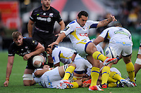 Ludovic Radoslavjevic of ASM Clermont Auvergne sends up a box kick during the European Rugby Champions Cup  Round 1 match between Saracens and ASM Clermont Auvergne at the Twickenham Stoop on Saturday 18th October 2014 (Photo by Rob Munro)
