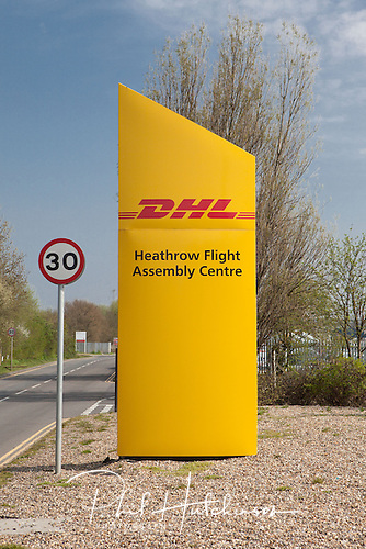 25.04.2013, Colnbrook, Heathrow, London, England. Artsweb, UK.  DHL Heathrow Flight Assembly Centre.  ..The DHL Heathrow Flight Assembly Centre handles the in-flight logistics for British Airways' short haul flights, delivering food, drink and equipment to nearly 1500 BA flights every week. ..This centre comprises of a substantial high bay industrial warehouse, ancillary office buildings and a multi-storey car park extending to 210,000 sq ft...Photographed by Phil Hutchinson of Artsweb Architecture Images for TJ Hall.