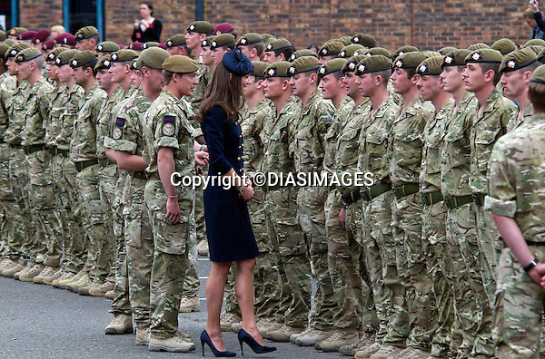"""WILLIAM AND KATE ATTEND IRISH GUARDS MEDALS CEREMONY.Prince William, Colonel Irish Guards and Catherine, Duchess of Cambridge presented operational medals for Afghanistan to the members of the 1st Battalion Irish Guards, Victoria Barracks, Windsor_25/06/2011.Mandatory Credit Photo: ©DIAS-DIASIMAGES..**ALL FEES PAYABLE TO: """"NEWSPIX INTERNATIONAL""""**..IMMEDIATE CONFIRMATION OF USAGE REQUIRED:.DiasImages, 31a Chinnery Hill, Bishop's Stortford, ENGLAND CM23 3PS.Tel:+441279 324672  ; Fax: +441279656877.Mobile:  07775681153.e-mail: info@newspixinternational.co.uk"""