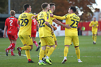 Fleetwood Town's Paddy Madden celebrates scoring his sides third goal with his fellow team mates<br /> <br /> Photographer Rachel Holborn/CameraSport<br /> <br /> Emirates FA Cup First Round - Alfreton Town v Fleetwood Town - Sunday 11th November 2018 - North Street - Alfreton<br />  <br /> World Copyright &copy; 2018 CameraSport. All rights reserved. 43 Linden Ave. Countesthorpe. Leicester. England. LE8 5PG - Tel: +44 (0) 116 277 4147 - admin@camerasport.com - www.camerasport.com