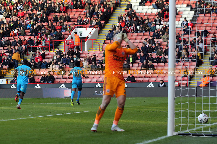 Shaquile Coulthirst of Barnet runs away to celebrate scoring the first goal during Sheffield United vs Barnet, Emirates FA Cup Football at Bramall Lane on 6th January 2019
