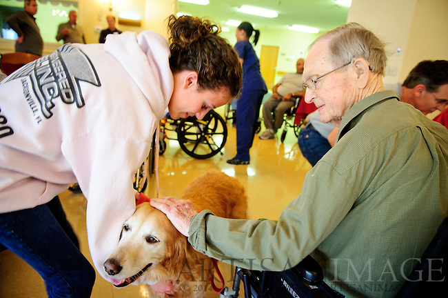 Members of Westminster Presbyterian Church visit the Blumenthal Jewish Nursing & Rehab Center as part of One Great Weekend of Service. Church member visited the senior living community with animals for pet therapy on Sunday November 6, 2011. (Chris English/Artisan Image © 2011)