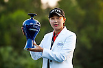 Hyo-Joo Kim of Korea celebrates after winning the Hyundai China Ladies Open 2014 at World Cup Course in Mission Hills Shenzhen on December 14 2014, in Shenzhen, China. Photo by Xaume Olleros / Power Sport Images.