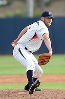 Brian McIlhenny (16) of the Pepperdine Waves pitches against the Oklahoma Sooners at Eddy D. Field Stadium on February 18, 2012 in Malibu,California. Pepperdine defeated Oklahoma 10-0.(Larry Goren/Four Seam Images)
