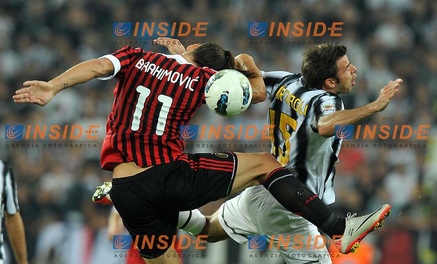 "Andrea BARZAGLI (Juventus), Zlatan IBRAHIMOVIC (Milan).Torino 2/10/2011 Stadio ""Juventus Stadium"".Serie A 2011/2012.Football Calcio JUventus Vs Milan.Foto Insidefoto Alessandro Sabattini."