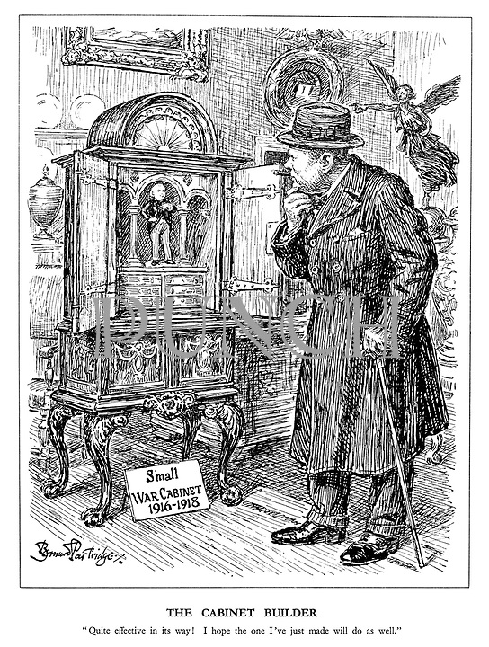 """The Cabinet Builder. """"Quite effective in its way! I hope the one I've just made will do as well."""" (Churchill views Lloyd George's Small War Cabinet 1916-1918 in an antique shop)"""