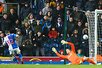 Craig Conway of Blackburn Rovers scores past Colin Doyle of Bradford City during the Sky Bet League 1 match between Blackburn Rovers and Bradford City at Ewood Park, Blackburn, England on 29 March 2018. Photo by Thomas Gadd.