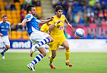 St Johnstone v Eskisehirspor...26.07.12  Europa League Qualifyer.Callum Davidson clears from Burhan Eser.Picture by Graeme Hart..Copyright Perthshire Picture Agency.Tel: 01738 623350  Mobile: 07990 594431