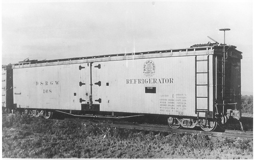 Long reefer #168.<br /> D&amp;RGW  Alamosa, CO  Taken by Best, Gerald M. - 7/7/1941
