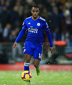 30th January 2019, Anfield, Liverpool, England; EPL Premier League football, Liverpool versus Leicester City; Ricardo Pereira of Leicester City looks up before passing the ball