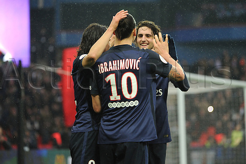02.04.2016. Paris, France. French League 1 football. Paris St Germain versus Nice.  ZLATAN IBRAHIMOVIC (psg) celebrates his goal for PSG with ADRIEN RABIOT (psg)