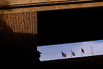 A pedestrian walks into the U.S. from Mexico at the San Ysidro, Calif. entry point on Saturday, March 26, 2005.<br />