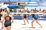 GULF SHORES, AL - MAY 07: Nikki Lyons (4) of Pepperdine University hits a bump against the University of Southern California during the Division I Women's Beach Volleyball Championship held at Gulf Place on May 7, 2017 in Gulf Shores, Alabama. (Photo by Stephen Nowland/NCAA Photos via Getty Images)