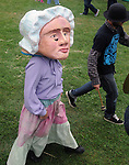 Laura Rock Kopczak in costume during the Arm-of-the-Sea Theater's  parade through the festival grounds, at the 27th Annual Hudson Valley Garlic Festival, held in Cantine Memorial Field, in Saugerties, NY, on Saturday, October 1, 2016. Photo by Jim Peppler; Copyright Jim Peppler 2016.