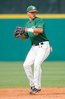Shortstop Stephen Perez #4 of the Miami Hurricanes makes a throw to first base against the Virginia Cavaliers at the 2010 ACC Baseball Tournament at NewBridge Bank Park May 29, 2010, in Greensboro, North Carolina.  The Cavaliers defeated the Hurricanes 12-8.  Photo by Brian Westerholt / Four Seam Images