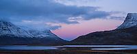 Dusk comes over mountain landscape, near lake Radujavri, Kungsleden trail, Lappland, Sweden