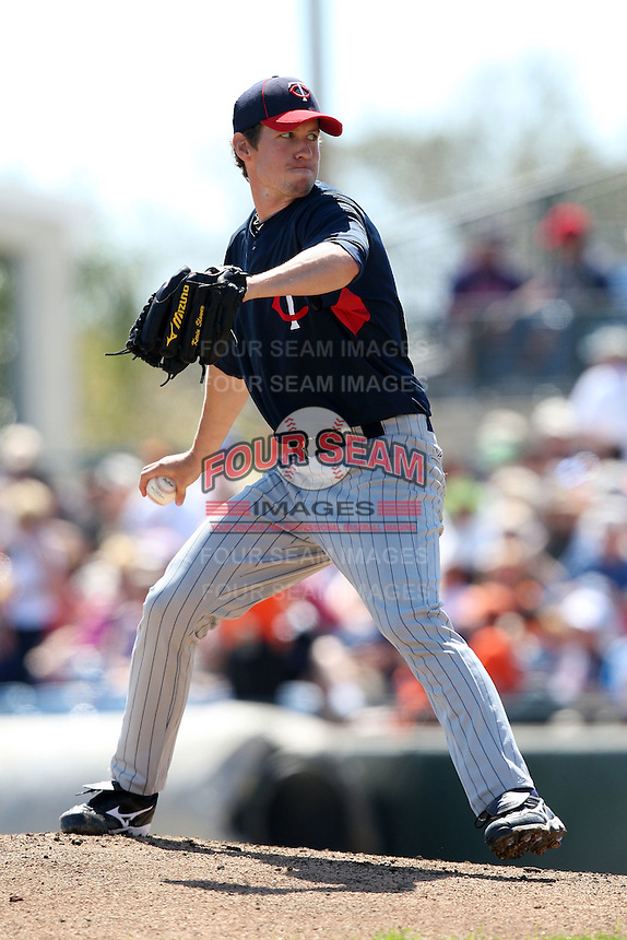 March 8, 2010:  Pitcher Kevin Slowey of the Minnesota Twins during a Spring Training game at Ed Smith Stadium in Sarasota, FL.  Photo By Mike Janes/Four Seam Images