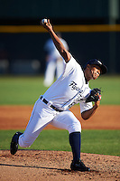Lakeland Flying Tigers relief pitcher Adenson Verastegui (60) delivers a pitch during a game against the Tampa Yankees on April 7, 2016 at Henley Field in Lakeland, Florida.  Tampa defeated Lakeland 9-2.  (Mike Janes/Four Seam Images)