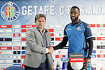 Getafe's new player Henok Goitom with the General Manager Toni Munoz (l) during his official presentation.March 29, 2016. (ALTERPHOTOS/Acero)