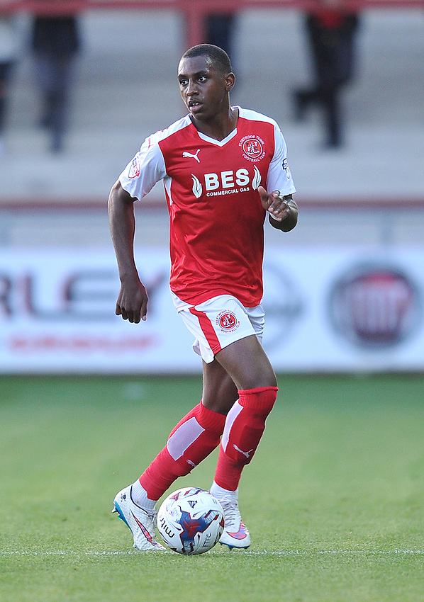 Fleetwood Town's Amari'i Bell on the ball<br /> <br /> Photographer Dave Howarth/CameraSport<br /> <br /> Football - Capital One Cup First Round - Fleetwood Town v Hartlepool United - Tuesday 11th August 2015 - Highbury Stadium - Fleetwood<br />  <br /> &copy; CameraSport - 43 Linden Ave. Countesthorpe. Leicester. England. LE8 5PG - Tel: +44 (0) 116 277 4147 - admin@camerasport.com - www.camerasport.com