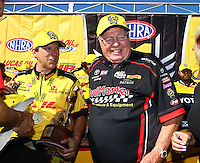 Aug 21, 2016; Brainerd, MN, USA; NHRA funny car driver Del Worsham and team owner Connie Kalitta celebrate after winning the Lucas Oil Nationals at Brainerd International Raceway. Mandatory Credit: Mark J. Rebilas-USA TODAY Sports