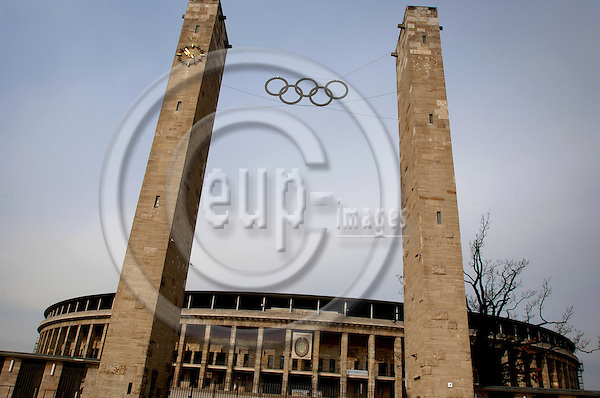 """BERLIN - GERMANY 7. APRIL 2006 -- Olympiastadion in Berlin will host six matches during the FIFA World Cup which starts June 9th 2006, including the finale July 9th. Olympiastadion was build by the nazis to host the olympic games in 1936. -- PHOTO: GORM K. GAARE / EUP- IMAGES ..This image is delivered according to terms set out in """"Terms for Delivery of Photography & Text"""". (Please see www.fotofactory.dk for more details)."""