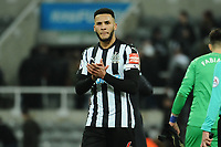 Jamaal Lascelles of Newcastle United applauds fans at the final whistle during Newcastle United vs Swansea City, Premier League Football at St. James' Park on 13th January 2018