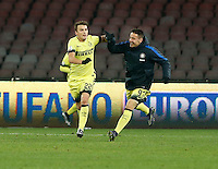 Adem Ljajic   celebrates after scoring during the Quartef-final of Tim Cup soccer match,between SSC Napoli and vFC Inter    at  the San  Paolo   stadium in Naples  Italy , January 20, 2016