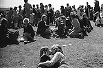 Durham, County Durham. 1974<br /> A young couple share a kiss at the annual Durham Miners Gala. Started in 1871 it was the largest unofficial gathering of miners and trade unionist in the country at its peak as many as 300,000 trade unionist attended.