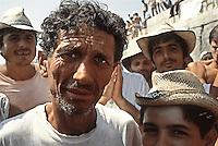 Bari / Puglia 1991<br /> Albanian refugees.<br /> Profughi albanesi giunti con la motonave Vlora al porto di Bari.<br /> Photo Livio Senigalliesi