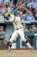 Michigan Wolverines catcher Joe Donovan (0) at bat against the Vanderbilt Commodores during Game 1 of the NCAA College World Series Finals on June 24, 2019 at TD Ameritrade Park in Omaha, Nebraska. Michigan defeated Vanderbilt 7-4. (Andrew Woolley/Four Seam Images)