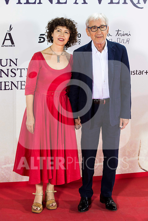 "Jose Sacristan with his wife Amparo Pascual during the premiere of the spanish film ""Un Monstruo Viene a Verme"" of J.A. Bayona at Teatro Real in Madrid. September 26, 2016. (ALTERPHOTOS/Borja B.Hojas)"