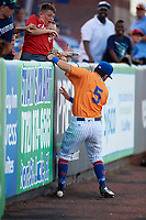 St. Lucie Mets third baseman Michael Paez (5) tries to catch a pop up at the wall during a game against the Daytona Tortugas on August 3, 2018 at First Data Field in Port St. Lucie, Florida.  Daytona defeated St. Lucie 3-2.  (Mike Janes/Four Seam Images)