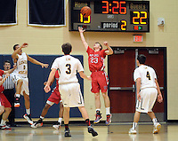 Holy Ghost's Aidan Bauer #23 intercepts a pass by Lower Moreland's Danny Duffy #4 the first quarter of the District One Class AAA boys basketball championship game Saturday February 27, 2016 at Council Rock South in Northampton, Pennsylvania. (Photo by William Thomas Cain)