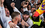 Sergio Ramos of Real Madrid celebrates with the fans after the UEFA Champions League Semi-final 2nd leg match between Real Madrid and Bayern Munich at the Estadio Santiago Bernabeu on May 01 2018 in Madrid, Spain. Photo by Diego Souto / Power Sport Images