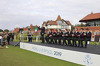 Euan Walker (GB&I) being introduced during the Official Opening of the Walker Cup, Royal Liverpool Golf CLub, Hoylake, Cheshire, England. 06/09/2019.<br /> Picture Thos Caffrey / Golffile.ie<br /> <br /> All photo usage must carry mandatory copyright credit (© Golffile | Thos Caffrey)