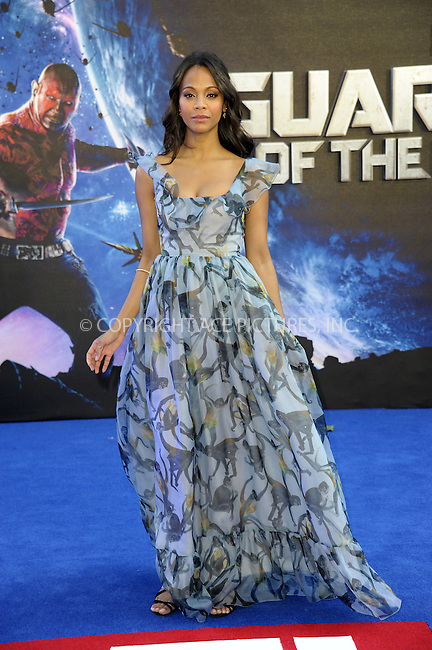 ACEPIXS.COM<br /> <br /> July 24 2014, London<br /> <br /> Zoe Saldana arriving at the UK Premiere of 'Guardians of the Galaxy' at the Empire Leicester Square in London, England<br /> <br /> By Line: Famous/ACE Pictures<br /> <br /> ACE Pictures, Inc.<br /> www.acepixs.com<br /> Email: info@acepixs.com<br /> Tel: 646 769 0430