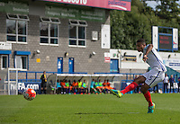 Cameron Humphreys (Manchester City) of England U19 scores his penalty during the International match between England U19 and Netherlands U19 at New Bucks Head, Telford, England on 1 September 2016. Photo by Andy Rowland.