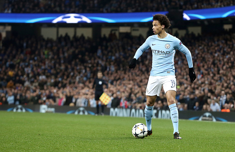 Manchester City's Leroy Sane<br /> <br /> Photographer Rich Linley/CameraSport<br /> <br /> UEFA Champions League Quarter-Final Second Leg - Manchester City v Liverpool - Tuesday 10th April 2018 - The Etihad - Manchester<br />  <br /> World Copyright &copy; 2017 CameraSport. All rights reserved. 43 Linden Ave. Countesthorpe. Leicester. England. LE8 5PG - Tel: +44 (0) 116 277 4147 - admin@camerasport.com - www.camerasport.com