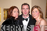 CHAT: Having a chat at the Feale Rangers Ball in The Listowel Arms Hotel on Friday night were Judith O'Sullivan (Ballybunion), Maurice Whelan (St. Senans) and Joanne Riordan (Lisselton).   Copyright Kerry's Eye 2008