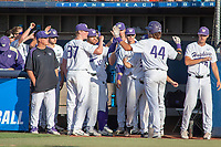 University of Washington Huskies celebrate the home run hit by Joe Wainhouse (44) against the Cal State Fullerton Titans at Goodwin Field on June 09, 2018 in Fullerton, California. The Cal State Fullerton Titans defeated the University of Washington Huskies 5-2. (Donn Parris/Four Seam Images)