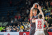 9th February 2018, Aleksandar Nikolic Hall, Belgrade, Serbia; Euroleague Basketball, Crvenz Zvezda mts Belgrade versus AX Armani Exchange Olimpia Milan; Guard Taylor Rochestie of Crvena Zvezda mts Belgrade tries to block Forward Mindaugas Kuzminskas of AX Armani Exchange Olimpia Milan
