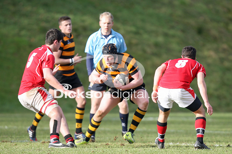 SCHOOLS CUP 2015  | Saturday 7th February 2015<br /> <br /> Mark Mairs during the third round of the 2015 Ulster Schools Cup between RBAI and Regent House at Osborne Park, Belfast.<br /> <br /> Picture credit: John Dickson / DICKSONDIGITAL